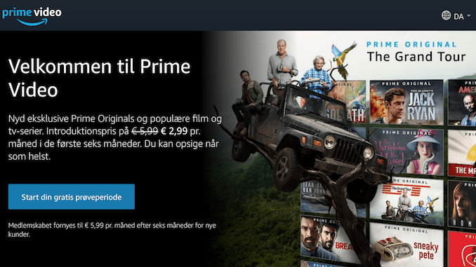 Forside på Amazon prime Danmark